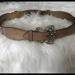Brighton taupe leather belt w/ silver buckle large